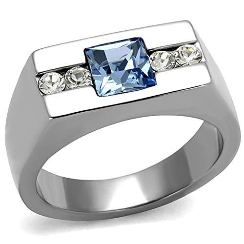 Vip Jewelry Co Mens Princess Cut Blue Montana & Clear Cz Silver Stainless Steel Ring Band Size 8-13