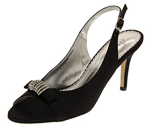 Glitz Occasions Mujer Satén Zapatos Negro