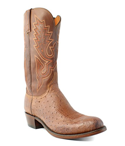 Lucchese N9581 Men's Barnwood Smooth Ostrich/Tan Burnished Boots (Smooth Ostrich Boots)