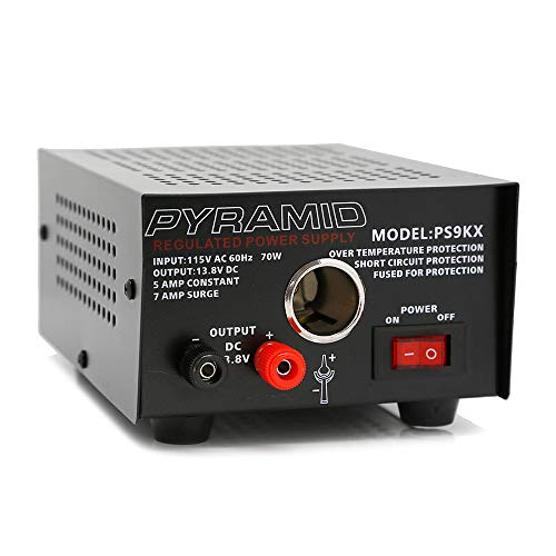 Pyramid PS9KX Universal Compact Bench Power Supply-5 Amp Linear Regulated Home Lab Benchtop Converter w/ 13.8 Volt DC 115V AC 70 Watt Input, Screw Type Terminal, 12V Car Cigarette Lighter ()