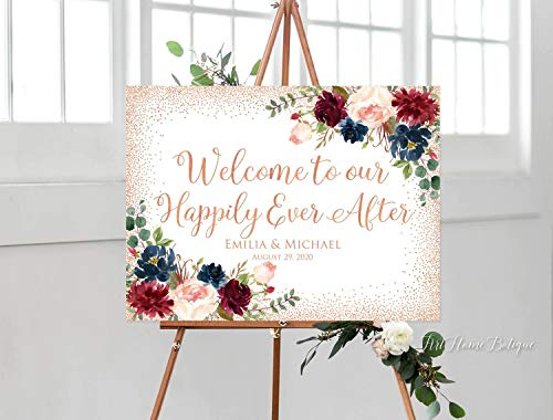 MaxwellYule Welcome to Our Happily Ever After Sign Rose Gold Welcome Wedding Sign Horizontal Landscape Wedding Sign Burgundy Marsala W746 18X24 inch