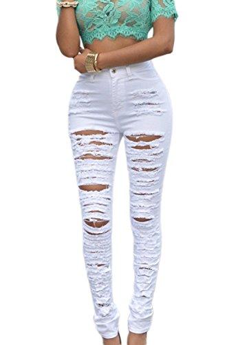 Zojuyozio Jeans Alta Buco Bianco Caviglia Vita Si Pantaloni Donne Strappata Jeans 8gU6qr8an