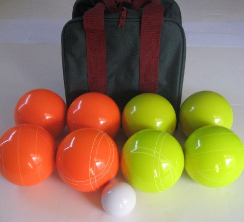 Unique Premium Quality EPCO Tournament Set, Orange and Yellow Bocce Balls - 110mm. Bag included. by Epco