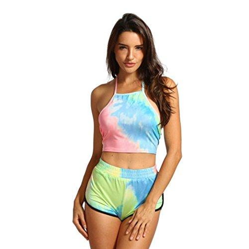 合理的列挙する絶滅させるenjocho女性用2ピースノースリーブグラデーションベストトップスカジュアルスポーツショーツスーツ服装セット Size:XL