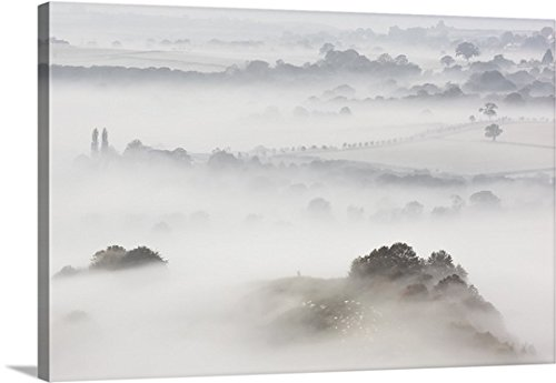 Canvas On Demand Premium Thick-Wrap Canvas Wall Art Print entitled Wearyall Hill from Glastonbury Tor, Somerset, UK by Canvas on Demand
