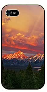 For SamSung Galaxy S6 Case Cover Mountains and sunset forest - black plastic case / Nature, Animals, Places Series
