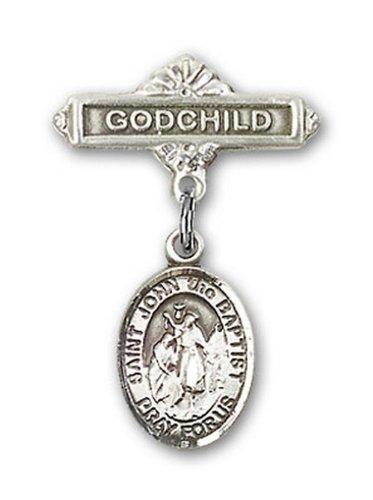 Icecarats Créatrice De Bijoux En Argent Sterling St. John La Broche Badge Filleul De Charme Baptist 1 X 5/8