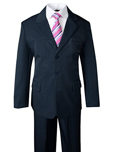 Spring Notion Big Boys' Pinstripe Suit Set Navy-Fuchsia 7 (Pinstripe Tie Suit Navy)