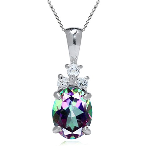 Gold Mystic Fire Topaz Pendant - 2.14ct. Mystic Fire Topaz White Gold Plated 925 Sterling Silver Pendant w/ 18 Inch Chain Necklace