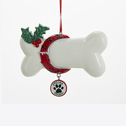 Holiday Ornaments SPOILED ROTTEN DOG BONE Ornament Puppy Paw Print A1676