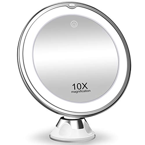 KOOLORBS 2020 New Version 10X Magnifying Makeup Mirror with Lights, 3 Color Lighting, Intelligent Switch, 360 Degree Rotation, Powerful Suction Cup, Portable, Good for Tabletop, Bathroom, Traveling 1