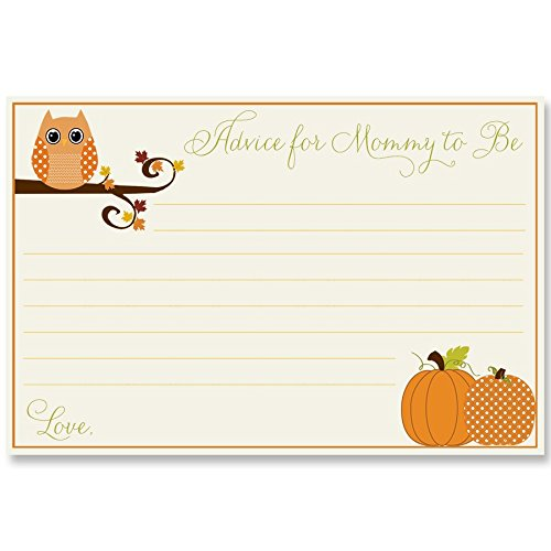 Baby Shower Advice Cards, Unisex, Owl, Pumpkins, Fall, Wisdom for Mommy, Set of 24 Advice for the Mommy to Be Cards, Autumn is a Hoot Neutral
