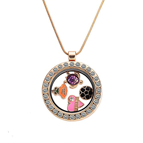 MBOX Custom Living Floating Charm Memory Locket Necklace With Snake Chain (Gold Crystal Round)