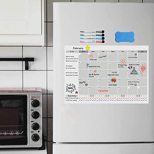 Magnetic Fridge Calendar Dry Erase, 2018 White Board Calendar Planner for Kitchen Refrigerator, 17'' x 12'' Large Monthly Erasable Whiteboard Calendar Set by F.G.Y (Image #2)