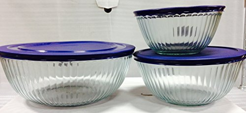 Pyrex Sculptured Bowls Bundle: 3 Sculptured Bowls with Blue Plastic Lids - 4.5 Qt, 10 Cup and 6 Cup