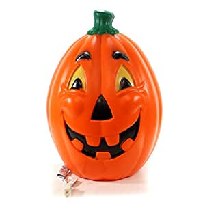 "Halloween 21"" Light UP Pumpkin # Plastic Made USA Yellow Eyes H1059"