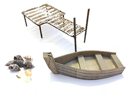 Miniature Garden Boat Dock Set – DIY Kit for Fairy Garden includes Boat, Rusty Dock & Tiny Seashells For Sale