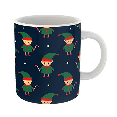 Emvency Coffee Tea Mug Gift 11 Ounces Funny Ceramic Christmas Elf Candy Cane on Dark Blue Cute Winter Holidays Baby Gifts For Family Friends Coworkers Boss Mug ()
