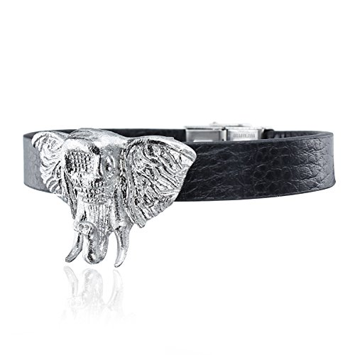 Leather Stainless Bracelets Rubber Steel (AMITER Men's Leather Bracelet Classic Silver Elephant Wristband with Hidden Safe Stainless Steel Clasp - Best Metal Jewelry Accessories)