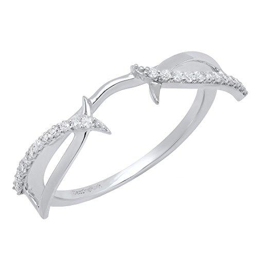 Dazzlingrock Collection 0.15 Carat (Ctw) 14K Round Diamond Ladies Wedding Band Enhancer Guard Ring, White Gold, Size 6.5