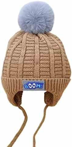 5b92e7e1e31 Lavany Baby Boys Girls Pom Pom Knit Hat Earflap Winter Warm Hat 0-12 Months