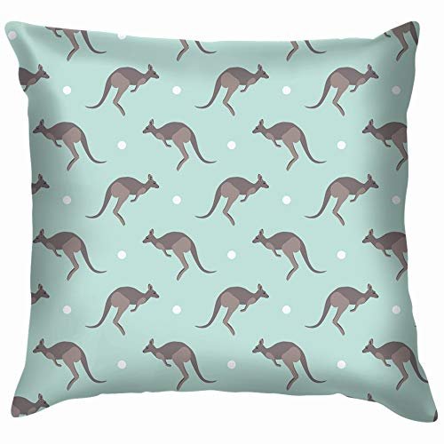 Kangaroo Animals Wildlife Cotton Linen Home Decorative Throw Pillow Case Cushion Cover for Sofa Couch 12X12 Inch -