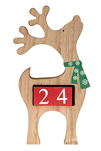 "Count Down Reindeer Advent Calendar Blocks | Days Until Christmas| 100% Wood Build | Natural Brown Reindeer Color | Measures 4.5"" x 8.75"" 