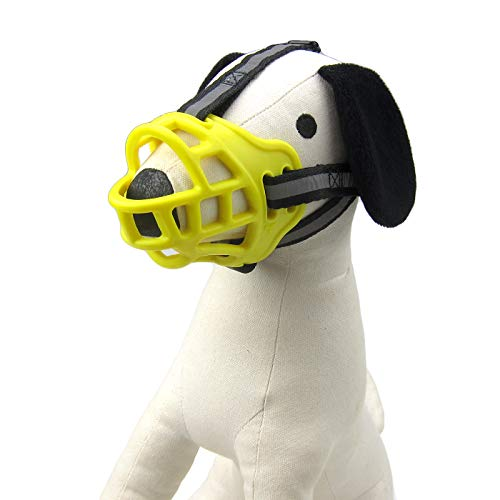 (Alfie Pet - Shura Adjustable Quick Fit Plastic Muzzle - Color: Yellow, Size: Small)
