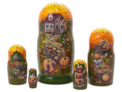 Made in Russia Frost on the Pumpkin Nesting Doll 5pc./6
