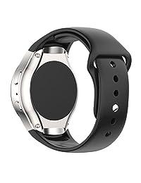 Samsung Galaxy Gear S2 SM-R720 Smart Watch Band, Perman Luxury Silicone Watch Band Strap (Black)