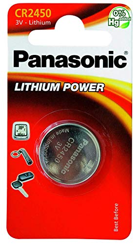 Panasonic CR2450 Lithium Battery 3V (5 Batteries Per Pack)