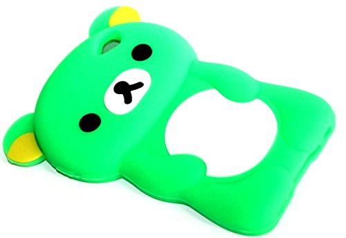 iTitan Bright Celery Green {Teddy Bear Animal} Soft and Smooth Silicone Cute 3D Fitted Bumper Gel Case for iPod 4 (4G) 4th Generation iTouch by Apple