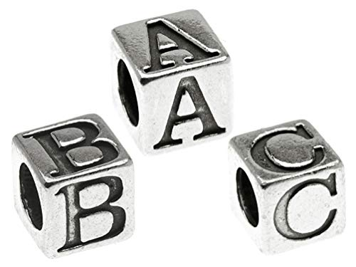 Sterling Silver Alphabet Cube Beads Letters 5.5mm x 5.4mm, 3.7mm Hole, Choose Package Size and Letters (4 Pieces)