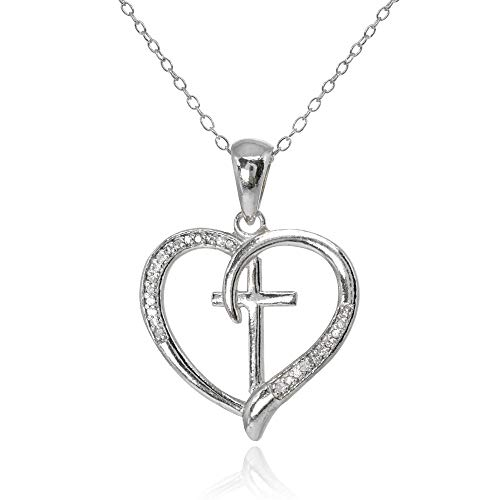 Sterling Silver Polished Cross in Heart Diamond Accent Pendant Necklace, JK-I3 ()