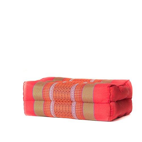 Zafuko Yoga, Meditation, Kundalini and Pilates Cushion (Zafu) block, bolster, floor pillow, prop 100% organic Kapok Fiber Filling – Small Block (Red Orange Motif)