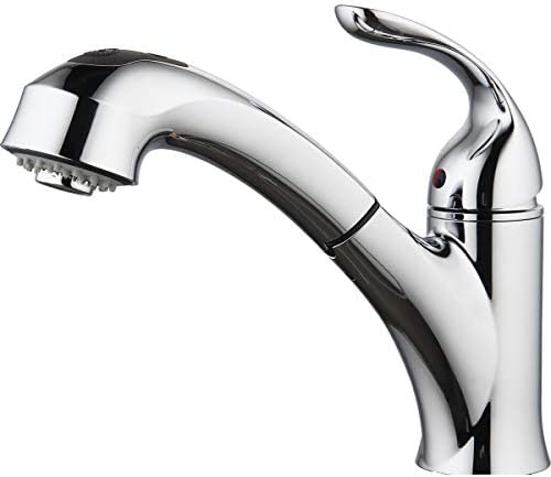 Aquenture PF6006-CH 8 Single Handle Pull Out Kitchen Faucet with Easy Install QuickNut Peridot, Chrome