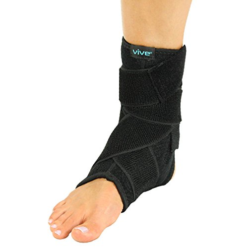 Vive Sprained Ankle Brace for Women, Men - Right or Left Compression Foot Immobilizer Support - Basketball, Volleyball Neoprene Stabilizer Wrap Protector - Tendonitis, Heel Spur, Running Feet Sprain ()