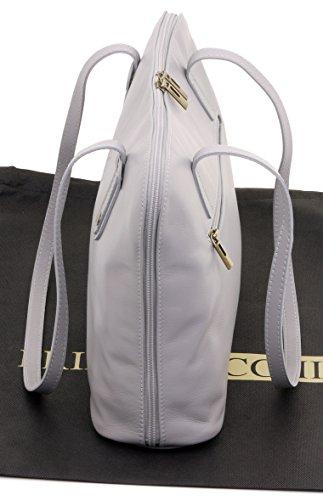 Primo Sacchi® italienisches weiches Leder Large Lange gehandhabt Umhängetasche Handtasche, beinhaltet eine Marken-Schutz-Aufbewahrungstasche Hellgrau