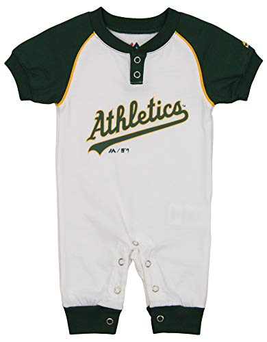 (Outerstuff MLB Newborn (3M-9M) Game Time Short Sleeve Coverall, Oakland Athletics 6-9 Months)