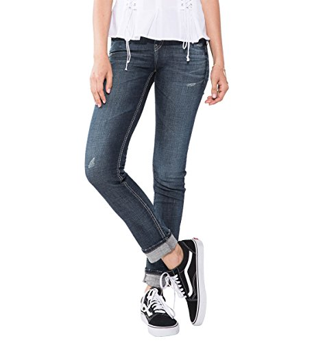 Silver Jeans Women's Suki Curvy Fit Mid-Rise Ankle Slim Jeans with Cuff, Dark Vintage Wash, 31