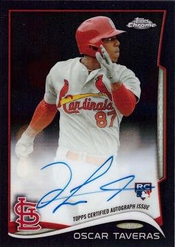 2014 Topps Chrome Rookie Autographs Black Refractor #OT Oscar Taveras Certified Autograph Baseball Rookie Card - Only 100 made! - Near Mint to Mint