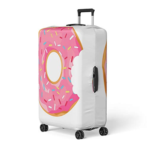 (Pinbeam Luggage Cover Pink Black Donut Mouth Bite in Flat Cartoon Travel Suitcase Cover Protector Baggage Case Fits 18-22 inches)