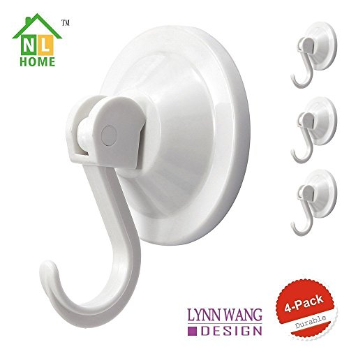 4-Pack Power Lock Suction Cup Hooks, White, by NL (Lock Suction Cup)