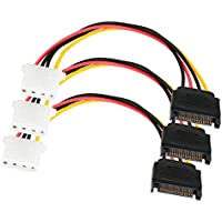 SATA Power Cable Adapter 3 Pack SATA 15 Pin Male to Molex LP4 Female Power Cable 8-inch