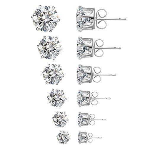 Stud Earrings,6 Paris 6 Sizes Earring Jewelry Sets for  Women's 6  Cubic Zirconia Stud Earrings White
