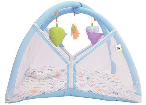 Toddylon New Born Baby Boy's & Baby Girl's Printed Bedding Set Play Gym Mosquito Net Bed with Hanging Toys & Pillow (0-6… 2021 July ???? ???? MOSQUITO NET WITH ZIP:- Mosquito bites can be your child's worse enemy which is why this bedding set comes equipped with a mosquito net that prevents the mosquitoes as well as other insects from entering inside. This net is made from a good quality material and can be closed using a zip. The zip ensures that there is no gap left for the mosquitoes to sneak inside. ???? ???? SOFT & SAFE MATERIAL: - We have designed this bedding using good quality material which proves to be soft and safe for your baby. This bedding offers superior comfort to your baby and offers it an undisturbed sleep. ???? ???? CUTE PRINTS :- A baby is attracted to everything that is colourful and bright which is why this bedding gets a cute print that appeals to babies. The bright colour scheme of this bedding keeps your child in a playful mood and ensures that it stays happy whenever it is playing on this play gym.