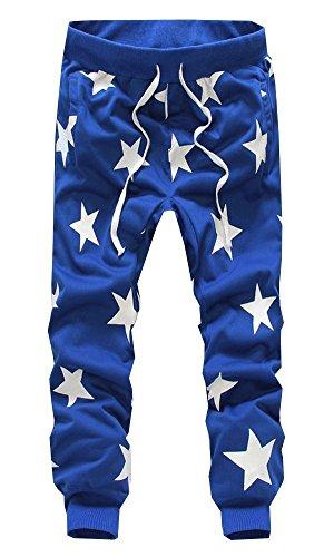 Wowlife Mens Kuzi Pants Casual Star Print Joggers Hip Hop Dance Baggy Sweatpants (XXL(Waist:78cm), Blue)