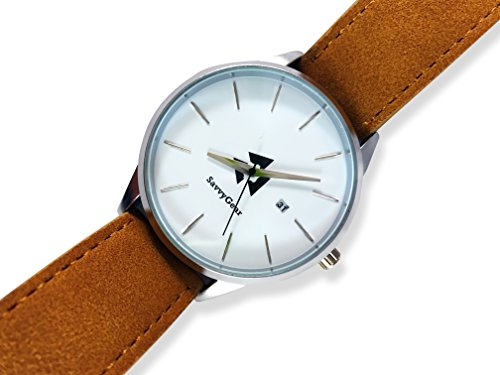 Men's Leather Stainless Steel Watch - SavvyGear High-End Luxury Designer Watch - (Khaki Navy Gmt Watch)