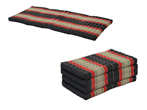 Pack: 2x 4-Fold Mattress (79x32inches), Traditional Thai Design BlackRed, (100% Kapok Filling) by Handelsturm