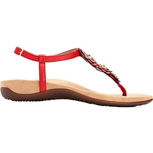 Vionic Womens Paulie T-Strap Sandal, Red, Size 8